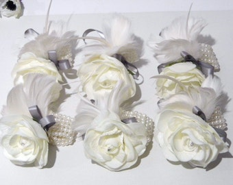 Set of 6 Corsages - Feather and Foam