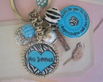 Personalized turquoise and Zebra Teacher's Keychain, end of year gifts