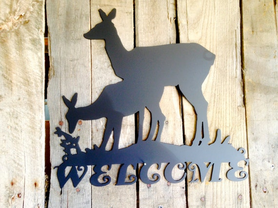 Welcome Sign Deer Metal  (L)