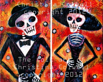 "Mr and Mrs. DOD, Instant Download 6"" X 12""  and 8"" x 8"" printable art from original acrylic painting contemporary raw folk art"