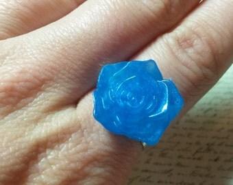 Blue resin rose ring