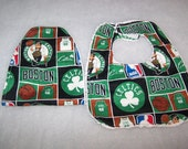 Boston Celtics Basketball Baby New Arrival Bib -Burpcloth Gift Set Boy Girl On Chenille-Teri