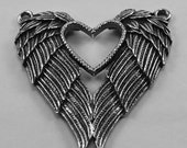 Heart With Feathered Wings - 2 bails, Australian pewter.  H53