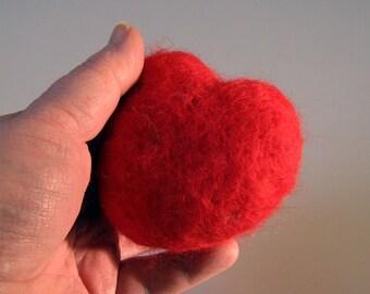 Needle felted heart pincushion