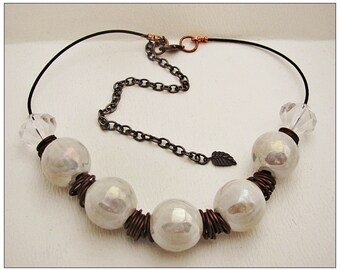 Chunky Jumbo Pearly Ceramic Beads and Greek Leather Necklace