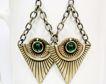 Funky Egyptian Golden Ray Earrings- Your choice of Emerald, Ruby or Sapphire Glass Accents