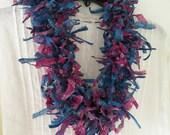 Crochet necklace scarf: women's fuzzy fashion knit scarflette, multicolor pink teal blue turquoise purple Indian silk sari Hawaiian lei i822