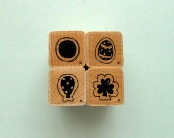 Destash - set of 4 DOTS - CTMH  A sized stamps - basic designs- circle, egg, balloon, clover