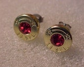 Bullet Earrings 38 Special Brass Shell Ruby Swarovski Crystal - Free Shipping to USA