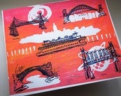 THE FIVE BOROUGHS #22 | New York City bridges blueprint line art over hot pink and orange, an original monoprint  by Kathryn DiLego