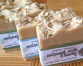 Oatmeal Milk & Honey Organic Artisan Soap - Goat Milk Fragrance Free Raw Honey Gluten Free Oats