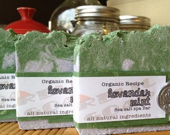 Lavender Mint Organic Sea Salt Spa Artisan Soap