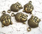 Buddha Head Charms Antiqued Bronze