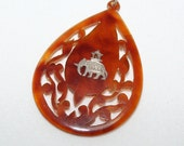 SALE - Last Chance - Vintage Faux Tortoise Shell Pendant Inlaid with Silver Elephant