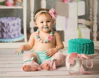 Cake smash set { Candy Pink } 4pc first Birthday set, Baby Pink aqua lace leggings, birthday outfit baby girl toddler photography prop