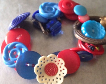 Vintage Red and French Blue Button Bracelet