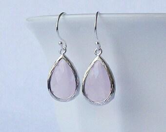 LAST ONE Pastel  Pink Crystal Silver Drop Earrrings