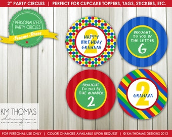 Sesame Street Inspired: Party Circles, Cupcakes Toppers - by KM Thomas Designs Item 106
