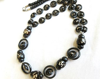 Vintage Ethnic Asian Style Lucite Beads Long Necklace
