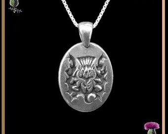 Scottish Thistle Oval Pendant - Sterling Silver