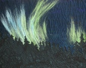 Northern Lights II Art Quilt, Needle Felted and Quilted