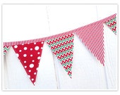 Christmas Banner, Holiday Banner, Christmas Bunting, Red Green Chevron, Stripes, Fabric Banner, Home Decor, Pennant Flags, Fabric Bunting