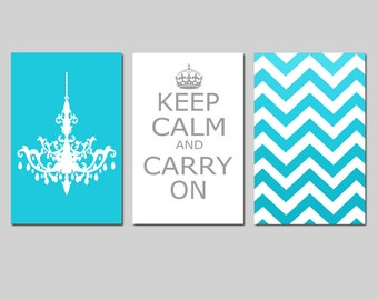 Keep Calm Carry On, Chevron, Chandelier Trio - Set of Three 13x19 Prints - CHOOSE YOUR COLORS - Shown in Aqua Medley, Gray, White and More