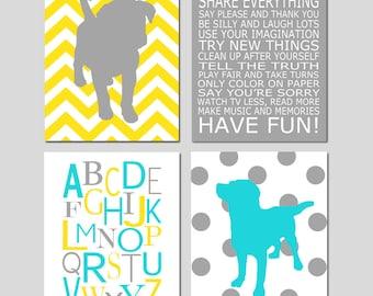 Puppy Nursery Art Puppies Nursery Decor Puppy Dog Nursery Art Prints - Kids Wall Art Baby Boys Room Playroom Rules Sign Quote - Set of 4