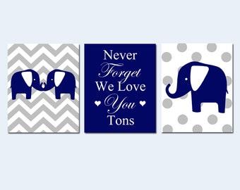 Navy Nursery Decor Elephant Boy Nursery Art Trio - Chevron Elephants - Never Forget We Love You Tons - Set of 3 Prints - CHOOSE YOUR COLORS