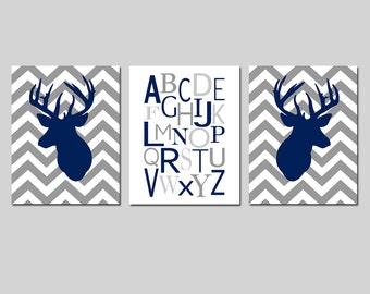 Deer Nursery Art Trio - Set of Three Prints - Chevron Deer and Modern Alphabet - Kids Wall Art - Choose Your Colors