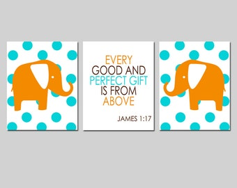 Every Good And Perfect Gift Is From Above Bible Verse Nursery Art Trio - Set of Three 8x10 Prints - Polka Dot Elephants - CHOOSE YOUR COLORS