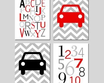 Baby Boy Car Nursery Art Transportation Theme Quad - Chevron Cars, Modern Alphabet Numbers - Set of Four 11x14 Prints - CHOOSE YOUR COLORS