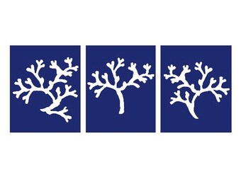 Coral Nautical Beach Trio - Set of Three 8x10 Coral Silhouette Prints - CHOOSE YOUR COLORS - Shown in Navy Blue, White, Coral Red and More