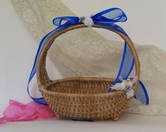 Woven Flower Girl Basket with Navy Blue Organza Bow and Roses and Doves