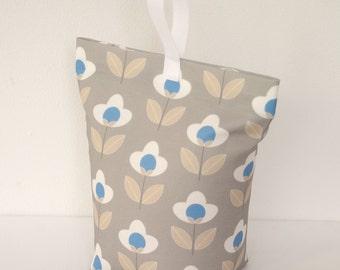 Grey Doorstop Tulip print fabric Door Stop Stopper