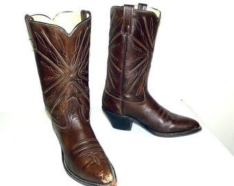 Brown Acme Stockshow cowboy boot size 8.5 D or cowgirl size 10