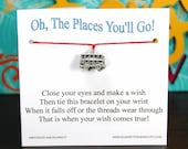 The Places You'll Go - Trolley Car Charm - Wish Bracelet - Shown In RED - Over 100 Different Colors Are Also Available