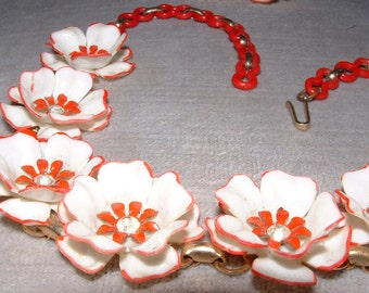 Vintage Red and White Celluloid Flower Necklace and Earrings
