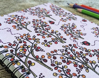 Wild Berries In Autumn Notebook Sketchbook - 50 bound pages recycled paper, for drawing, writing, school