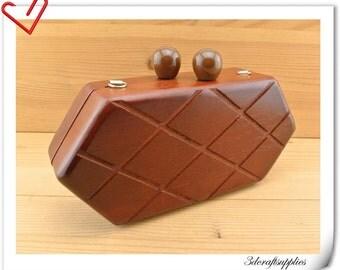 wood box purse frame 21.5cm x 10 cm (8.5 inch x 4 inch ) M78