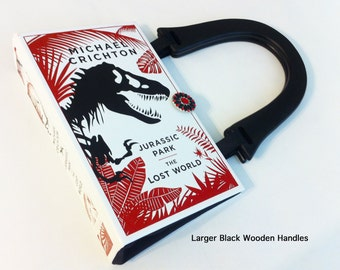 Jurassic Park Recycled Book Purse - The Lost World Book Cover Shoulder Purse - Natural History Gift - Dinosaur Collector - Movie Buff Gift -