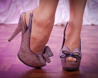 Purple Swarovski Crystal Encrusted High Heels