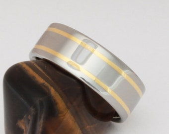 Gold Titanium Wedding Ring, Man's Ring, Woman's Wedding Band, Handcrafted Titanium Ring, 18k Gold Inlay Ring - g8