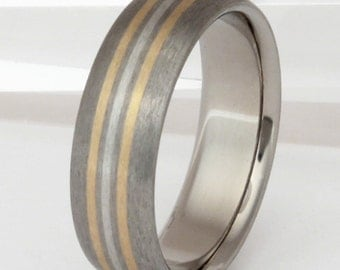 Gold Platinum and Titanium Wedding Band - Striped Precious Metal Ring - Valiant - m1
