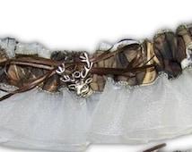 Max 4 Garter   WHITE camouflage sheer camo bridal garter Wedding or Prom