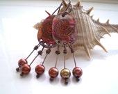 RESERVED for Shahmain - Fumed Copper Ammonite Earrings