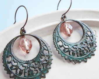 Pale Pink and  Verdigris Hoop Earrings