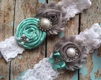 61 different colors / Wedding garter / AQUA / GREY garter set / wedding garters / bridal  garter/  lace garter / vintage lace garter