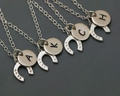 Bridesmaid Necklace Set - Personalized Initial Horse Shoe Necklace - Personalize silver necklace, Lucky Horse Shoe Necklace