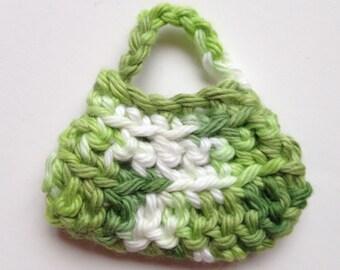 Handmade Barbie Clothes Purse Handbag Crochet Green Variegated (S1807)